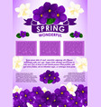 spring floral poster with flower bouquet design vector image