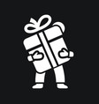 man holds a gift box icon with bow vector image