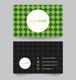 Business card template green pattern design vector image vector image