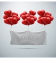 white textile banner with heart balloons vector image