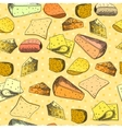 Seamless pattern with different slices of cheese vector image vector image