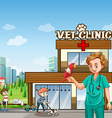 Vet and many pets at the clinic vector image vector image