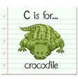 Flashcard letter C is for crocodile vector image