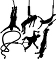 Bungee jumper silhouettes vector image