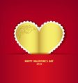 Gold heart paper classic vector image