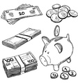 Money and coins doodles vector image