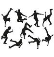 Silhouette of a Guy Break Dancing vector image