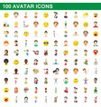 100 avatar icons set cartoon style vector image
