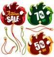 autumn leaf discount labels in the shape of hand vector image vector image