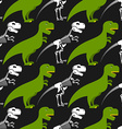 Dinosaur skeleton and seamless pattern Green vector image