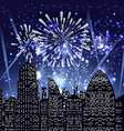 happy new year with firework city at night vector image