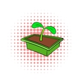 Seedlings in box icon comics style vector image