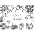 autumn sketch - seasonal food vector image