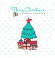 christmas and new year holiday pine tree cartoon vector image