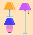 lamps furniture set light electric electricity vector image