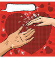 man and woman hand with ring pop art comics vector image