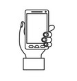 monochrome silhouette of hand holding smartphone vector image