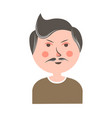 serious man with mustache and pink cheeks portrait vector image