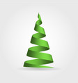 simple green ribbon in a shape of christmas tree vector image