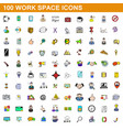 100 work space icons set cartoon style vector image