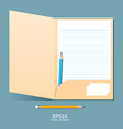 note paper in folder with pencil vector image