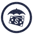 banknotes umbrella rounded grainy icon vector image
