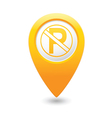 no parking icon on yellow pointer vector image