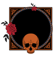 frame with roses and skull vector image