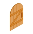 Arched wooden door icon isometric 3d style vector image