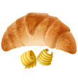 crossiant and butter on white background vector image