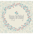 Happy Birthday greeting card floral wreath vector image