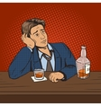Man with bad mood drinks in bar pop art vector image
