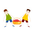 two boys with a basket of red apples harvesting vector image