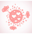 Lovely Earth planet eco symbol with hearts vector image