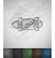 skateboard Miami icon Hand drawn vector image