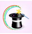 Magic hat with magic wand vector image vector image