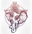 elephant with lotus and sacred geometry vector image vector image