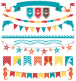 Set of multicolored flat sea buntings garlands vector image