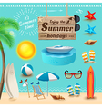 Set of realistic summer icons and objects vector image