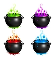 Black cauldrons set with colorful witches vector image