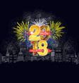 happy new year fireworks 2018 holiday background vector image