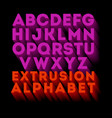 poster extruded alphabet letters vector image