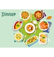 Meat fish dishes for lunch icon for food design vector image