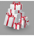 Big Pile Of White Gift Boxes With Ribbon vector image