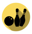 bowling sign   flat black icon vector image