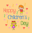 background childrens day doodle style vector image