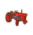 Vintage Farm Tractor Side Woodcut vector image