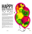 Birthday card in the style of cutouts with vector image