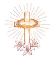 Crown of thorns wooden cross and floral blooming vector image
