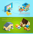 ecommerce concept banners purchase and delivery vector image